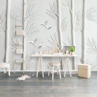 Carta da parati Murale personalizzata 3D Stereoscopico Intonaco Bianco Intonaco Sollievo Bamboo Bird TV Sfondo Parete Pittura Soggiorno PO Carta da parati