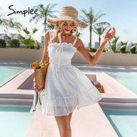 Simplee Beyaz Pamuk Sling Skoring Kadın Elbise Dantel Up Aline Kadın Ruffles Vestidos Yaz Zarif Straplez Sundress Günlük Elbiseler