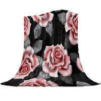 Blankets Watercolor Vintage Roses Throw Blanket For Sofa Christmas Decor Bedspread Portable Microfiber Flannel Picnic