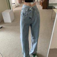 Women's Jeans High Waist 2021 Summer Fashion Blue Baggy Oblique Buckle Straight Pants Ladies Casual Wide Leg Denim Trousers