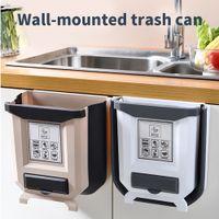 سلة المهملات المطبخ يمكن طوي المحمولة سيارة القمامة-يمكن للحمام المطبخ مجلس الوزراء الباب الخيالة المطبخ تخزين 2 ألوان