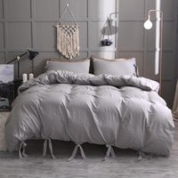 Bedding Sets High-End Soft Gray Duvet Covers Set Queen King Size Wahsed Cotton Comforter Cover Luxury Strap
