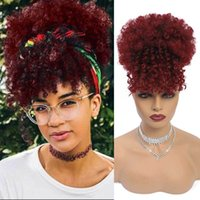 G&T Wig Afro Puff Drawstring Ponytail Bun with Bangs Heat Ristant Synthetic Short Kinky Curly Ponytail Updo Hair ExtensionsC3AC