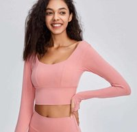 Beautiful back Yoga suit women's long sleeve T-shirt with breast pad tight sports top net red navel exposed fitness suit