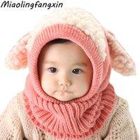 Kasketleri Çocuklar Kış Şapka Kulak Boyun Koruyun Çocuk Sıcak Eşarp Tek Parça Suit Bebek Bonnet Kız Erkek Için Sevimli Şapka Örme