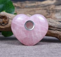 5-6cm HJT Großhandel Neue Trommelkristall Herz Tabakrohre Rosa / Rosenquarz Kristall Raucherrohre 319 V2