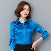 Women Satin Silk Blouse And Shirt Spring Autumn Long Sleeve Elegant Female Office White Blue Black Lady Tops Plus Size 3XL Women's Blouses &