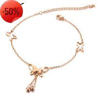 Красивые аксессуары летом, розовое позолоченное позолоченное мода браслет, изысканный лук и алмаз Zircon Anklet