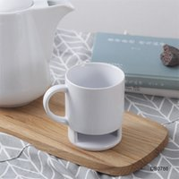 Керамическая кружка белое кофе молока печенье десерт 250 мл чашки чашки чашки чай Kka3109 Домашняя сторона печенья для карманов Офисный чай держатель 1428 v2