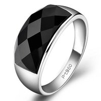 Cluster Rings Silver Advanced Creative Geometric Diamond Inlaid Black Agate Gemstone Men's Domineering Exaggerated Opening Adjustable Ring