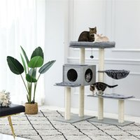 5 níveis Modern Furnitures Scratcher Gato Varied Styles Tower com 7 sisal coçando postagens profundas hammock e poleiro extra-grande