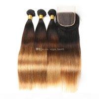 Dreifarbige Peruanische Reines Haar mit Spitze Frontal Seide gerade 1b 4 27 farbige Honigblondine unverarbeitetes Haar mit 13 * 4 Frontalverschluss