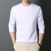 Spring 2021 and Autumn Trend Middle-aged Base Loose Bottomed Long Sleeve Solid Round Neck Mercerized Cotton T-shirt for Men