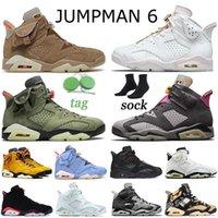 Nike Air Jordan Retro 6 Travis Scott Jumpman 6 6s Hommes Femmes Chaussures De Basket-ball 2021 Carmine Cactus Jack Quai 54 Smoke Gris Noir Infrared Trainers Sneakers 36-47