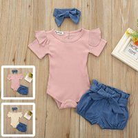 Baby Girl Clothes 3Pcs Girls Infant Set Romper Jumpsuit Bowknot Denim Shorts Outfits Clothing Sets