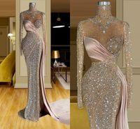 Lado división sexy sirena vestidos de fiesta 2021 brillo cristal con cuentas de cuello alto manga larga vestido de noche mujer árabe ocasión especial vestido formal ropa formal