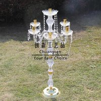 Candle Holders Metal Glass Candlestick Christmas Decoration Wedding Centerpiece Gold Stand Party Supply