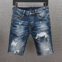 mens designer short jeans straight holes tight jeans casual jean Night club blue Cotton summer Men pants Leisure style old school