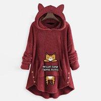 Women's Hoodies & Sweatshirts Winter Long Women Coat Cat Ear Hooded Sweatshirt Sleeve Fleece Female Clothing Pullover