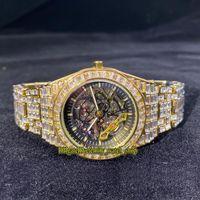 Missfox Eternity V309 Hip Hop Fashion Mens orologi Skeleton Qualt Automatic Mechanical Men Watch Big T Diamonds Cornice Iced Out CZ Diamond Inlay Diamond Braccialetto in lega di intarsio