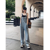 Women's Jeans Denim Overall 2021 Summer Drape Wide Leg Korean-Style Loose Mopping Pants Fashion