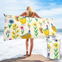 Asciugamano Asciugamano Asciugamano Gallo di pollo e fiori Giallo Illustrazione Microfibra Camping Escursionismo Faccia a mano Kit da viaggio all'aperto