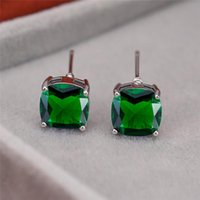 Stud Simple Female Green Crystal Stone Earring Charm Silver Color Small Dainty Rainbow Square Wedding Earrings For Women