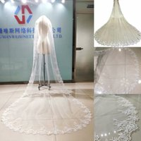 100% Real Photo Bridal Veils 3M Long Veil Lace Appliqued Cathedral Length White Ivory Wedding Veils With Comb