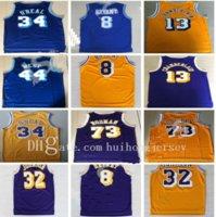 2021 Mens Basketbol Formaları Vintage 73 # Rodman Shaquille 13 # Wilt Chamberlain Jerry Basketball 44 # West Jerseys Shir # 34 o Neal Jersey