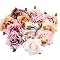 Flores decorativas grinaldas 30pcs 6cm pintura a óleo vintage rosa artificial flor flor cabeça decoração casamento diy grinalda scrapbooking cra