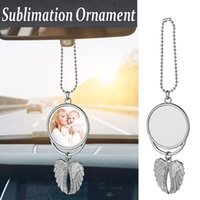 100Pcs sublimation car ornament decorations angel wings shape blank hot transfer printing consumables supplies Double-Sided Hanger Pendant Jewelry For Women