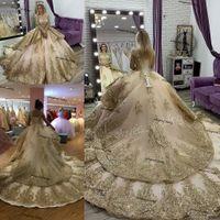 럭셔리 골드 공주 웨딩 드레스 긴 소매 전체 레이스 Applique 대성당 기차 레이스 업 아소 에비 브라 가운