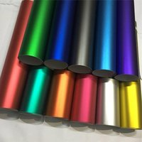 Window Stickers 14 Colors Red Blue Gold Green Purple Matte Satin Chrome Wrap Film Sticker Decal Bubble Free Car Wrapping