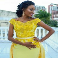 Yellow Detachable Train Mermaid Prom Dresses Lace Appliques Pearls Satin Eveining Party Gown Long Maid of Honor