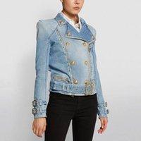 Jaqueta feminina zíper duplo breasted leão botão motor ciclo jeans designer 2021 jaquetas