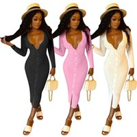 Schwarz / Rosa / Weiß Damen gestricktes dünnes Kleid Mode Tiefe V-Ausschnitt Single-Breasted Dünne Kleider Herbst Langarm Robe Femme