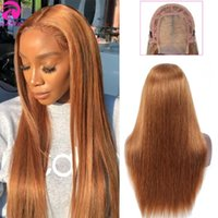 Straight 4X4 Lace Closure Wig Human Hair Wigs Brazilian Ombre 180 Density Remy