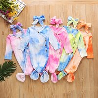 5 Colors Newborn Baby Swaddle Blanket Headbands 2 pcs Wrap Toddler Sleeping Sacks Photography Prop Tie Dye Infant Sleeping Bag RRA3605
