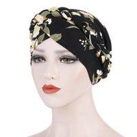 Beanie / Kafatası Kapaklar Baskılı Fırçalanmış Süt İpek Türban Kapağı, Çiçek Bezi Kısa Örgü, Toe Cap Müslümandan Sonra Saçları Gizleyebilir