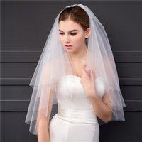 신부 베일 간단한 흰색 빗 150cm 짧은 아이보리 신부 베일 여성 두 레이어 부드러운 얇은 명주 그물 컷 웨딩 액세서리