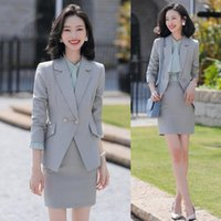 Formal Blazer Women Business Suits Grey Skirt And Jacket Set...