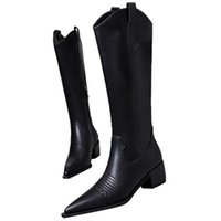 Luxury Designer Women Jumping Boots Calfskin Autumn Winter Knight Boot leather sole leathers laminated heel unique craftsmanship classic design size34-40