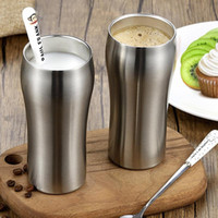 Mugs 2Pcs Stainless Steel Cups Double Wall Insulated Coffee Mug Large Metal Beer Cup Tumbler Travel Outdoor Camping Drinkware