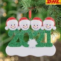 جديد dhl الراتنج شخصية ثلج عائلة من 4 شجرة عيد الميلاد زخرفة هدية مخصصة ل أمي أبي كيد الجدة الجد