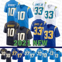 2021 New Los Mens Angeles American Football Jersey Chargers 10 Justin Herbert 33 Derwin James 97 Joey Bosa 30 Austin Ekeler 70 Rashawn Slater 55 주니어 Seau 13 Allen