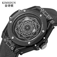 Erkek Elmas Saatler Luxe Tasarımcısı Montre De Takı Adam İzle Saatı Yaratıcı Moda Trend erkek Silikon Bant Aydınlık Hareket Otomatik Mekanik W