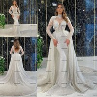 Sparking Long Sleeves Mermaid Wedding Dresses with Detachable Train 2022 Lace Sequined High Neck Backless Bridal Gown Vestido