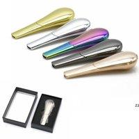Kaşık Sigara Boru Taşınabilir Yaratıcı Metal Herb Tütün Sigara Borular El Scoop Gümüş Hediye Kutusu Ile HWB10451