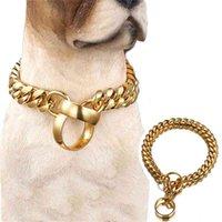 14 ملليمتر الأزياء الكلب سلسلة طوق الذهبي الفولاذ المقاوم للصدأ زلة الكلب الياقات للكلاب الكبيرة قلادة خنق قوي للقلادة الفرنسية البلدغ 210325