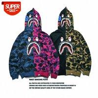 Outono juventude jovem maré japonês marca cabeça de tubarão costurando camuflagem zipper de mangas compridas camisola com capuz # iw6o